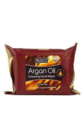 beauty formulas argan oil facial wipes 30τμχ.