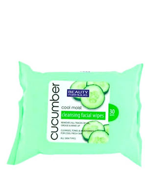 beauty formulas cucumber cool moist cleansing facial wipes 30τμχ.