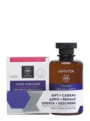 Apivita Set For Healthy Hair & Nails 30caps + Δώρο Men's Tonic Shampoo Hippophae TC & Rosemary 250ml