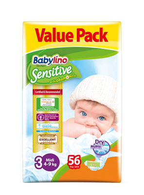 BABYLINO SENSITIVE CHAMOMILE No3 4-9KG 56ΤΕΜ