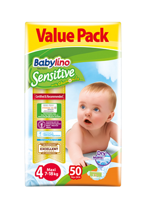 BABYLINO SENSITIVE CHAMOMILE No4 7-18KG 50ΤΕΜ