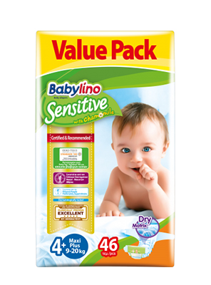 BABYLINO SENSITIVE CHAMOMILE No4+ 9-20KG 46ΤΕΜ