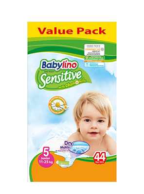 BABYLINO SENSITIVE CHAMOMILE No5 11-25KG 44ΤΕΜ