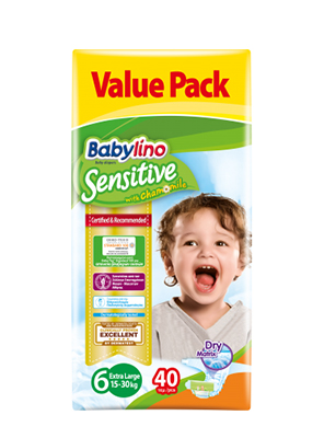 BABYLINO SENSITIVE CHAMOMILE No6 15-30KG 40ΤΕΜ