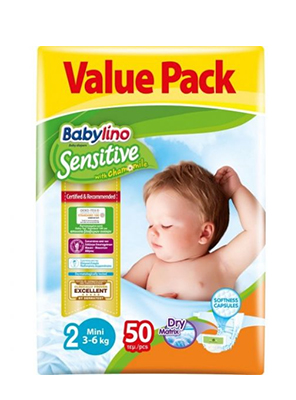 BABYLINO SENSITIVE CHAMOMILE No2 3-6KG 50ΤΕΜ