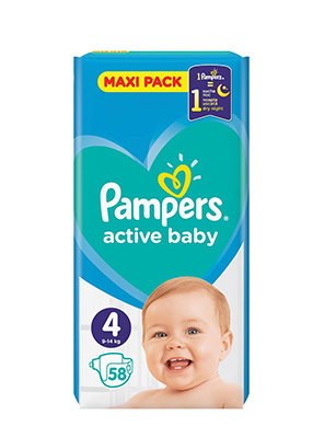 PAMPERS ACTIVE BABY No4  9-14KG  58ΤΕΜ.